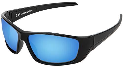 La Optica B.L.M. UV400 CAT 3 Unisex Damen Herren Sonnenbrille Leicht Sport Fahrrad - Einzelpack Glänzend Schwarz (Gläser: Hellblau verspiegelt)
