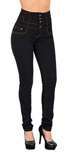 by-tex Damen Jeans Hose Skinny Damen Röhrenjeans High Waist Jeanshose Hochbund in vielen Farben J22