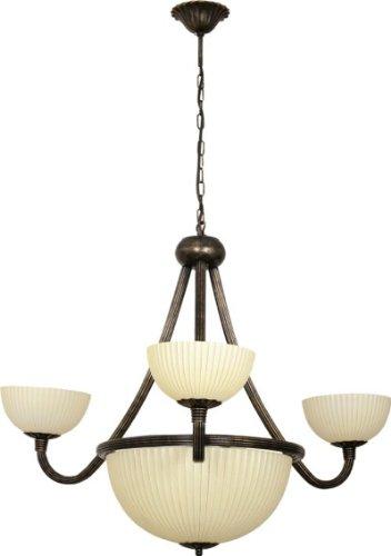 XL Kronleuchter rustikal / braun/creme / 6-flammig / Jugendstil Lampe / antike Hängeleuchte / Pendellampe Landhaus / Esszimmer Lampe Wohnzimmer Beleuchtung