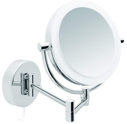 Libaro LED Kosmetikspiegel Modena Vergrößerungsspiegel (5X / 10x) 360° Schminkspiegel mit Wandmontage und Dimmerfunktion