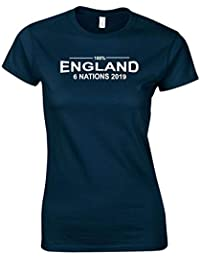 7c43e02bd5e 100% England Womens Rugby Six Nations 2019 T-Shirt Ladies Navy