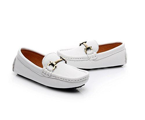 Shenn Garçons Glisser Sur Moraillon Conception Robe Cuir Mocassins Chaussures Blanc