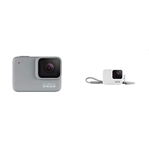 GoPro HERO7 White - Cámara de acción digital sumergible con pantalla táctil, vídeo HD 1440p y fotos de 10 MP, blanco + Funda para cámara GoPro (incluye cordón), blanco