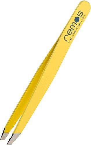 Remos - Pince à épiler - mors biais - jaune