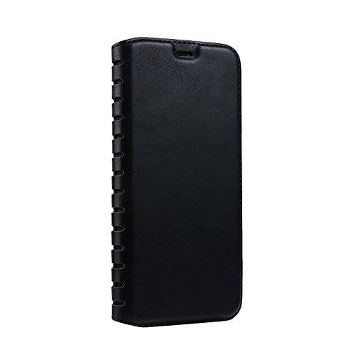 Ecoway Para iPhone 8/7/7G (4,7 zoll) Funda, Serie Ladder Cuero de la PU Leather Cubierta , Función de Soporte Billetera con Tapa para Tarjetas Soporte para Teléfono - Noir