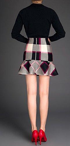 Helan Donna Breve Knitting Gonne blocco grande colore Rosa