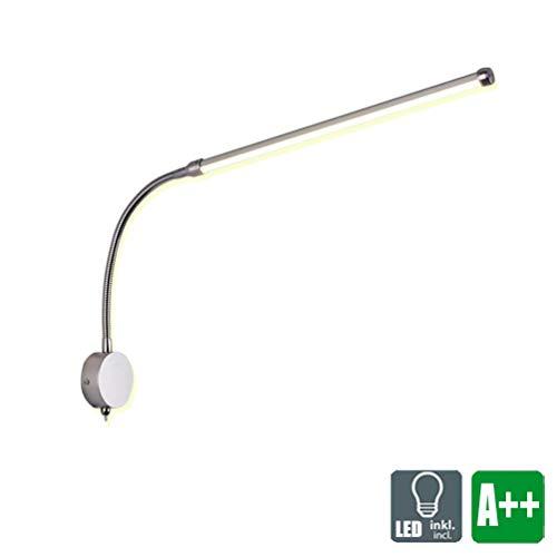 LED Leselampe Wandleuchte Dimmbar Soft Tube Schwanenhals Lampe Wandlampe mit Schalter Wandlichter in nickel-matt 9W Nachttischlampe Beleuchtung für Büro Schlafzimmer Wohnzimmer, Einstellbar Lichtfarbe -