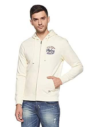 Flying Machine Men's Sweatshirt (FMSS5164_White L FS_Cream_L)
