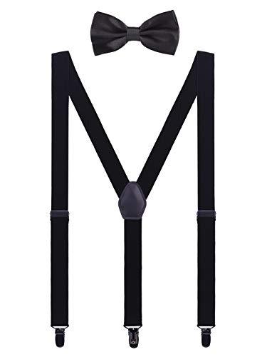 WANYING Herren Hosenträger Fliege Set - 3 Schwarz Clips Y Form 2,5cm Hochelastisch Hosenträger für Herren Körpergröße 150-200cm - Schwarz