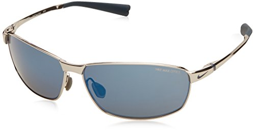 Nike Tour Sunglasses, Chrome/Squadron Blue, Grey with Blue Flash Lens