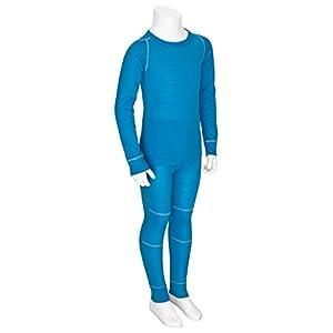 icefeld® – Atmungsaktives Thermo-Unterwäsche Set für Kinder – warme Wäsche aus langärmligem Oberteil + Langer Unterhose (ÖkoTex100) in blau oder pink