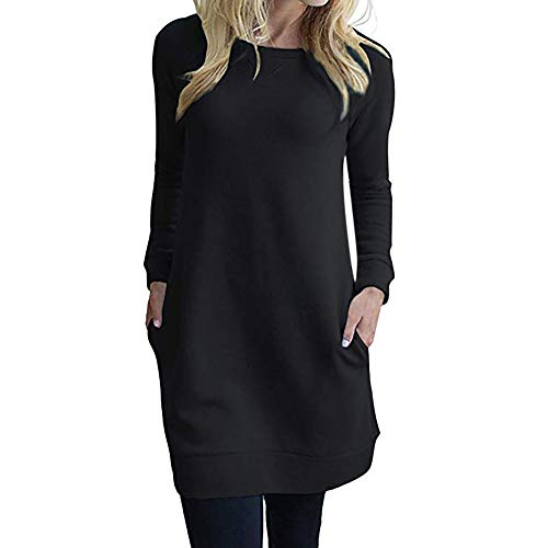 (Damen Kleider Dasongff Elegant Pulloverkleid Rundhals Longpullover Tunikakleid Elegant Skaterkleid Basic Kleid Frauen Solid Langarmshirts Dress)