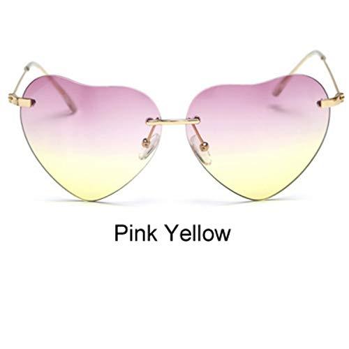 ZHOUYF Sonnenbrille Fahrerbrille Farbverlauf Sonnenbrille Bonbonfarbenen Herzförmigen Sonnenbrille Für Frauen Vintage Uv400 Sonnenbrille Für Weibliche Oculos, F
