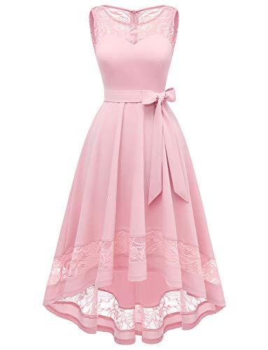 GardenWed Damen Kleid Cocktailkleid Elegant Unregelmässig Spitzenkleid Abendkleider für HochzeitPink M -