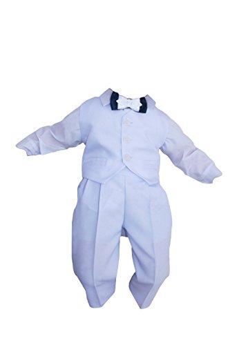 Taufanzug Baby Junge Kinder Kind Taufe Anzug Hochzeit Anzüge Festanzug, 4tlg , Weiß, Gr.62
