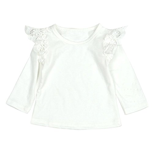 For 0-2 Years old Girls,Clode® Toddler Baby Kids Girls Newborn Infant Baby Girls Lace Flying Long Sleeve T-Shirt Tops (12-18 Months, White)