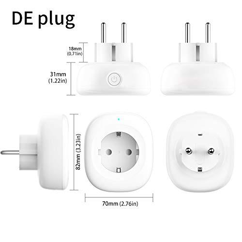 XINRISHENG UK US EU WiFi Smart Socket Steckdose Fernbedienung Energiemonitor Funktioniert Kein Hub erforderlich,DEPlug