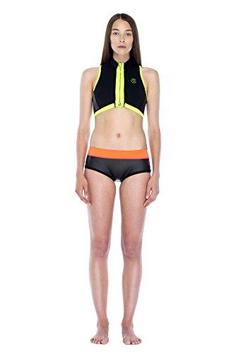 Glidesoul - Bikini a pantaloncino, da donna, in neoprene nero - Black Glide Skin/Peach