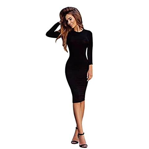 OverDose Femmes Sexy Robe Solides Manches Longues Mince (M, Noir)