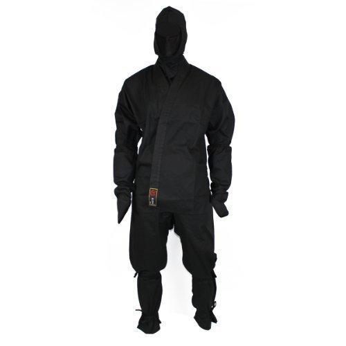 Schwarzer Ninjaanzug aus 100% Baumwolle, mit Zubehör, Größe (Ninja Kostüm Mann)