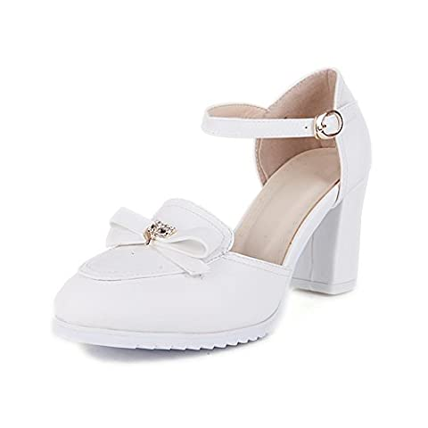 1TO9 Ladies Bowknot Buckle Round Toe White Polyurethane Pumps Shoes 3.5 UK