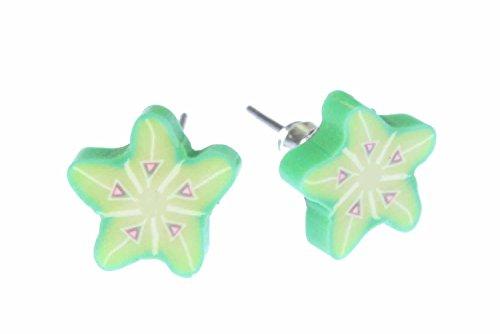 stella-orecchini-miniblings-spina-orecchini-frutta-karambola-frutta-verde-frutta