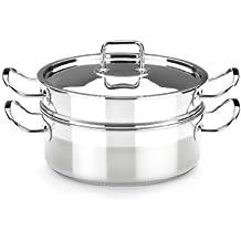 BRA Profesional - Set para cocinar al vapor con tapa, 20 cm, acero inoxidable 18/10