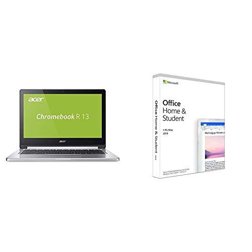 Acer Chromebook R 13 (CB5-312T-K0YK) 33,8 cm (13,3 Zoll Full HD IPS 360°) Convertible Notebook (MediaTek Quad-Core MT8173C, 4GB RAM, Google Chrome OS) silber + Microsoft Office 2019 Home & Student
