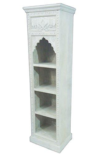 Regal aus Holz massiv schmal in Weiß Saladin 180cm hoch für Bad oder Küche | Weißes Standregal ohne bohren für Badezimmer | schmales Raumteiler Wandregal für Bücher cd DVD im Wohnzimmer