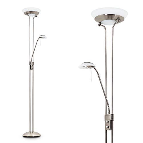 LED Stehlampe Saltum, dimmbare Stehleuchte aus Metall in Nickel-matt, mit verstellbarem Lesearm, 2700 Kelvin, Deckenfluter mit Lampenschirm aus Glas für Wohnzimmer, Flur, Esszimmer, Schlafzimmer