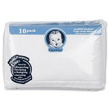 Gerber Childrenswear Diaper Birdseye 10 Pack Prefold with Pad - White