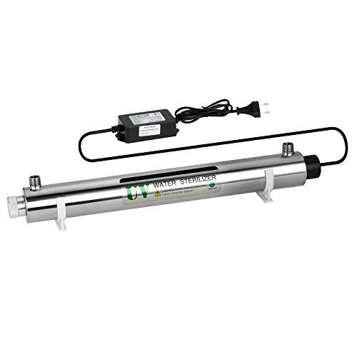 """GRASSAIR Sistema de Tratamiento de Filtro de Agua UV Ultravioleta de 40 vatios 10GPM (2.3 T/H) Filtro de Agua para esterilizador para Toda la casa, Macho de 3/4\""""con Alarma de Seguridad de lastre"""