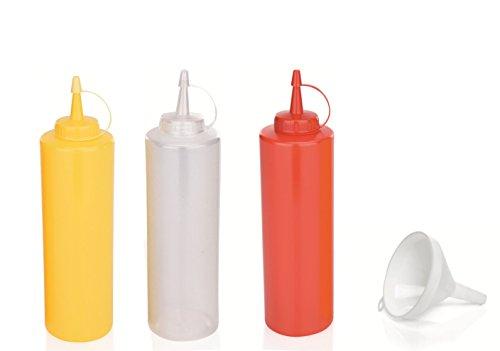 Kerafactum® - Set Quetschflasche für Majo Senf Imbiss Squeezeflasche Nachfüllflasche Dosierflasche Garnierflasche bottle weiß rot und gelb 700 ml mit Einfülltrichter - auch als Dressing Shaker geeignet