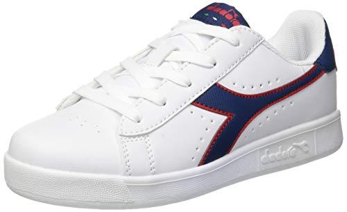 Diadora game p gs, scarpe sportive unisex – bambini, multicolore (white/estate blue/tomato c7628), 38 eu