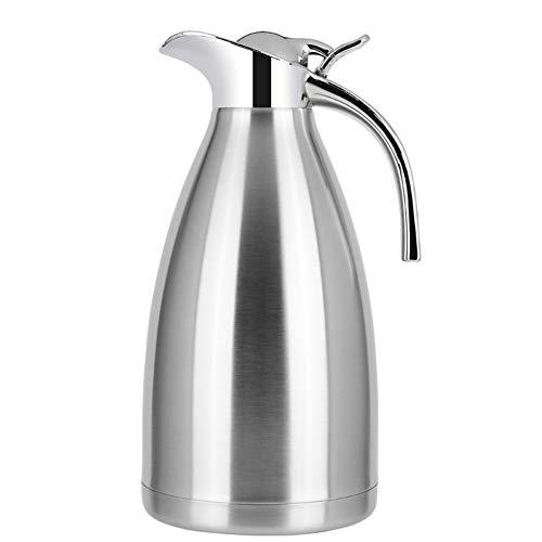 STSERI Vakuumisolierter Tee/Kaffee-Krug aus Edelstahl, doppelwandig, Vakuum-Thermoskanne, 18 Stunden Wärmespeicher, für heiße und kalte Getränke, 2 Liter,Silver,2L -