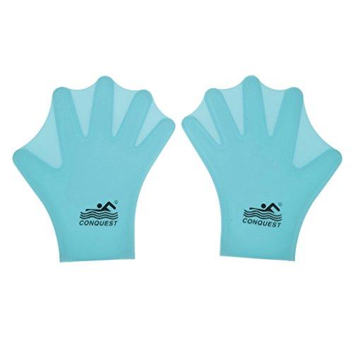 1 Paar Schwimmen Wassersport Schwimmhäuten Handschuhe Silikonfinger Hand Für Kinder - Blau