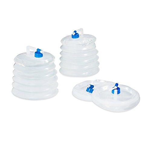 Relaxdays Wasserkanister faltbar 4er Set 10L, Oval mit Hahn, Haltegriff, Camping Faltkanister BPA frei, lebensmittelecht