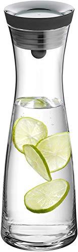 WMF Basic Wasserkaraffe, Glas, Karaffe 1l, Höhe 30,2 cm, Glaskaraffe mit Deckel, Silikondeckel, CloseUp-Verschluss