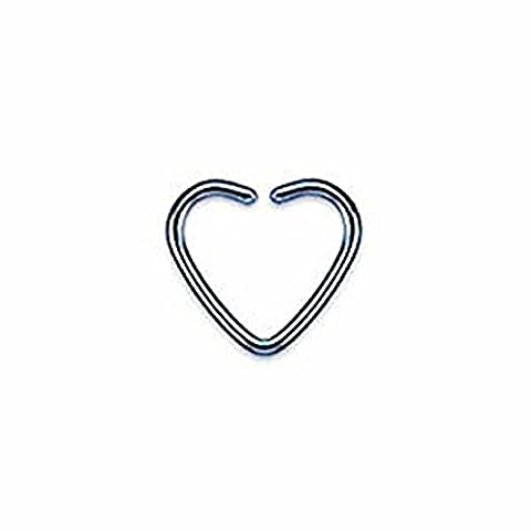 1 x Blue Titanium Plated Single Closure Heart Shaped Fake Ear Cuff Tragus or Cartilage Non Piercing  Material : Surgical Steel