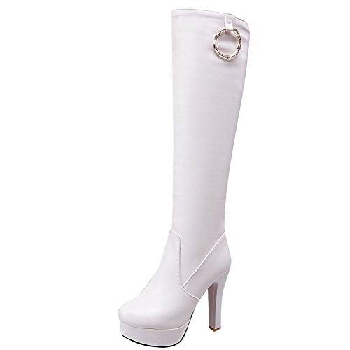 Mee Shoes Damen Reißverschluss Plateau high heels langschaf Stiefel Weiß