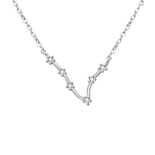 Clearine Halskette Damen 925 Sterling Silber Cubic Zirconia 12 Sternbilder Sternzeichen Horoskop ''Fische'' Anhänger Hals-Schmuck Silber-Ton