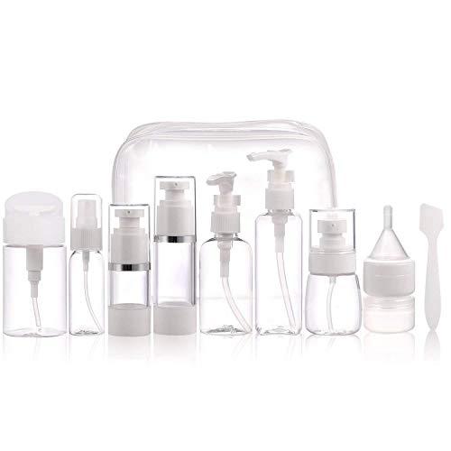 Reisebehälter für Körperpflegemittel - TSA-geprüft Luftfahrtgröße Flaschen und Dosen Set 12-teilige Körperpflegemittel für kosmetisches Make-up mit 1 Kulturbeutel - 2.5 Unzen Flüssigkeit