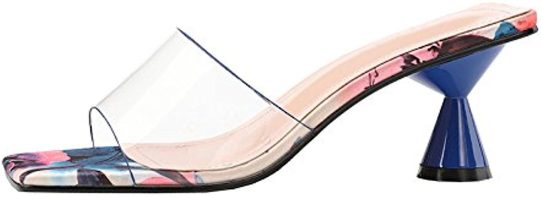 Qin&X Sandalias de Tacón Alto para Mujer Peep Toe Flip Flop