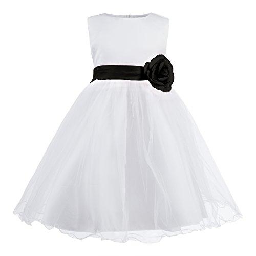 tliches Kinder Blumenmädchen Kleid für Hochzeit, Kirche, Feiern mit Blume, Schleife und viel Tüll - Beste Qualität dieser Preisklasse, 122 cm (Herstellergröße 130), schwarz (Besten Kleid Für Kinder)