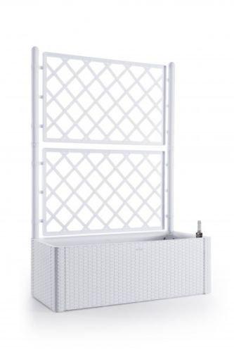 Kreher XL Rankgitter, Spalier mit Pflanzkasten in moderner Rattan-Optik aus robustem Kunststoff in Weiß. Maße BxTxH in cm: 100 x 43 x 142 cm. Topp für Garten, Terrasse und Balkon!