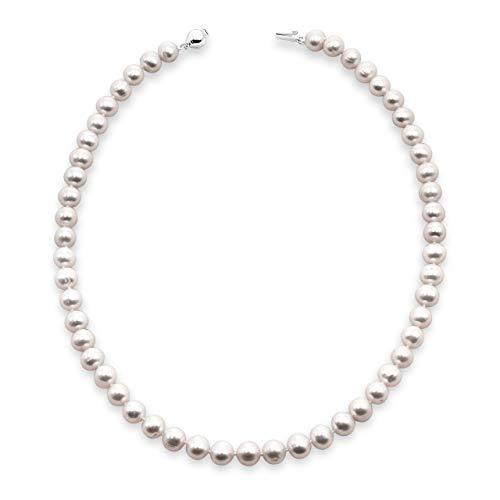 Collana di perle da donna 45 cm di lunghezza Perla ovale d'acqua dolce coltivata disponibile da 5-5,5, 6,5-7 e 7,5-8,0 mm - Chiusura in argento sterling silver 925