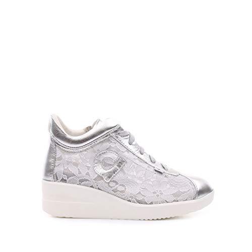 a7fdb895e00a1 AGILE BY RUCOLINE Scarpe Donna Sneaker Zeppa Pelle E Pizzo Colore Silver  226 n° 38