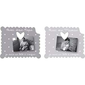 "Titoutam - Cadre photo - Duo cadres à poser ""Avec mon Papa"", ""Avec ma Maman"" 2 vues Bébé à croquer"