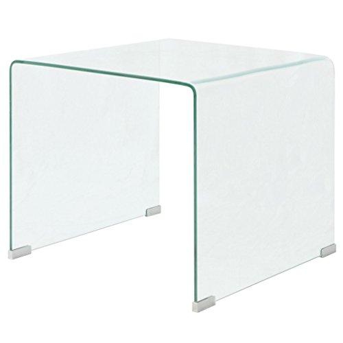 Festnight tavolino da caffè/tavolino salotto in vetro temperato 49,5x50x45 cm nitido