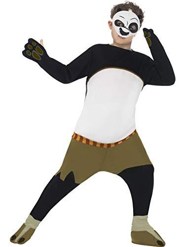 Kung Panda Kostüm Fu - Luxuspiraten - Jungen Kinder Kung Fu Panda Po Kostüm mit gepolstertem Overall Einteiler und Maske, perfekt für Karneval, Fasching und Fastnacht, 140-152, Schwarz